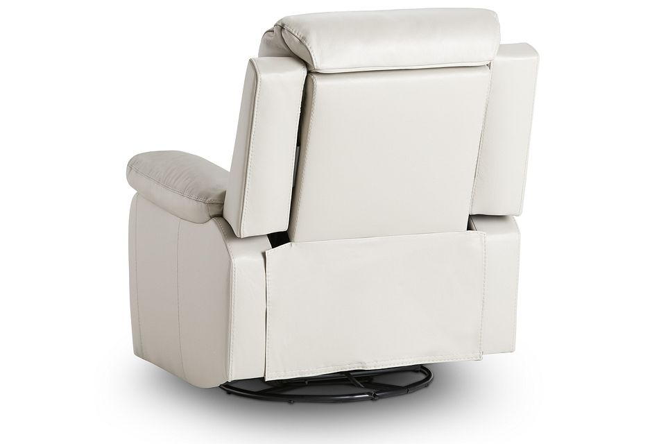Mason Light Gray Leather Power Swivel Glider Recliner