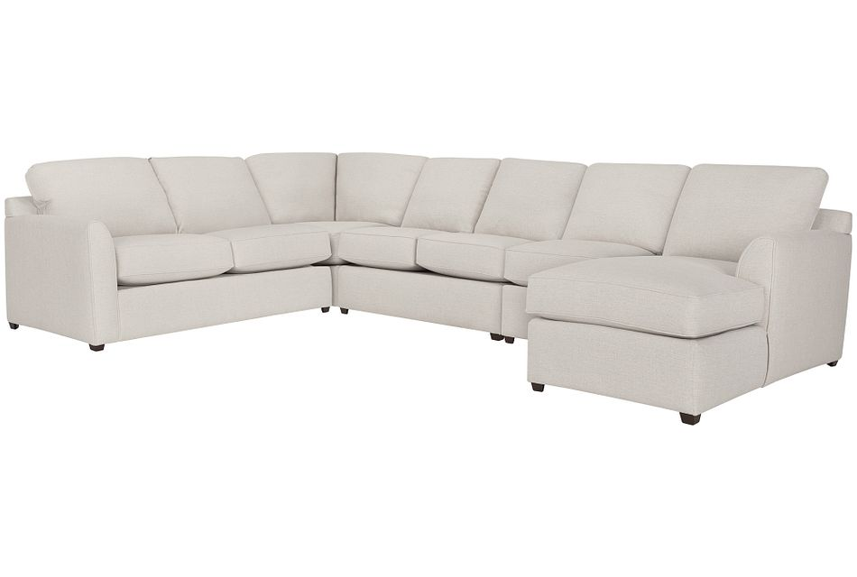 Asheville Light Taupe Fabric Large Right Chaise Sectional