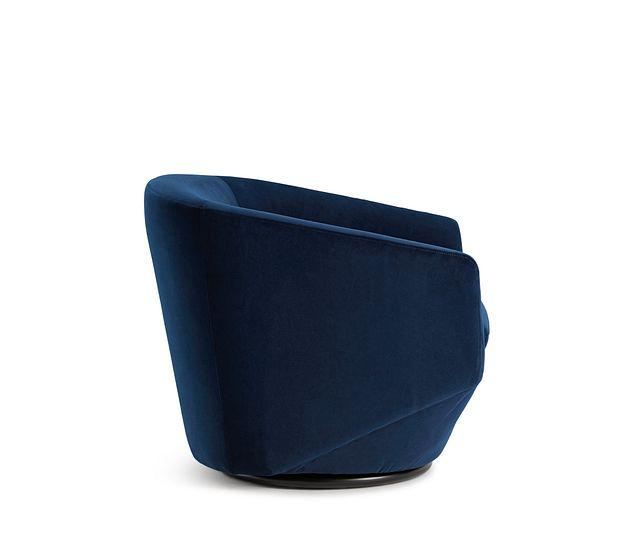 Darian Dark Blue Velvet Swivel Accent Chair (2)