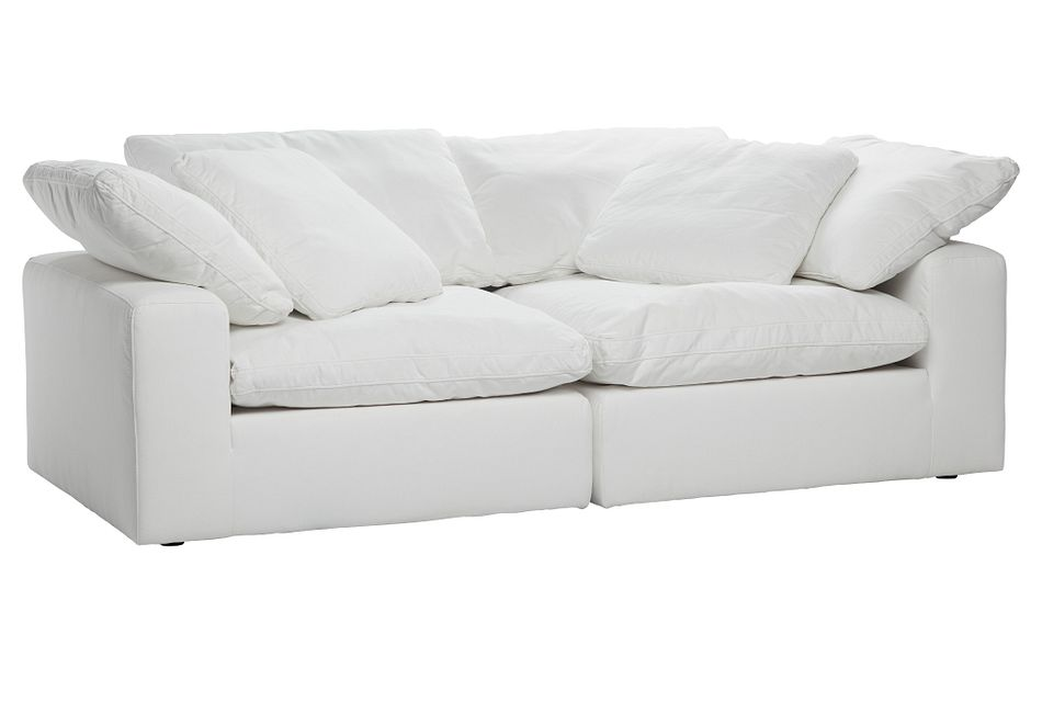 Nixon White Fabric 2 Piece Modular Loveseat
