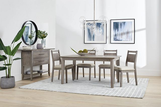 Rockville Light Tone Rect Table & 4 Upholstered Chairs (1)
