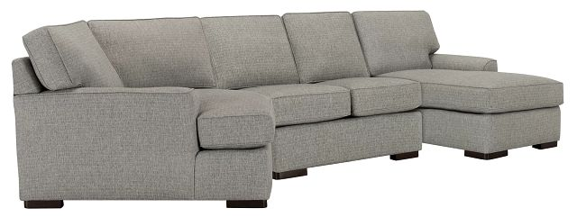 Austin Gray Fabric Right Facing Chaise Cuddler Sectional (0)
