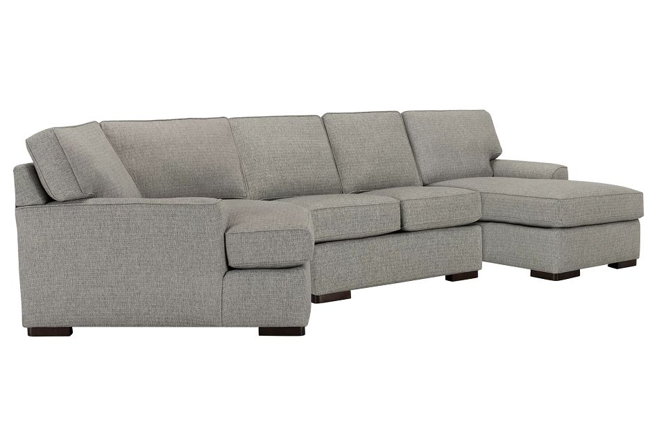 Austin Gray Fabric Right Facing Chaise Cuddler Sectional