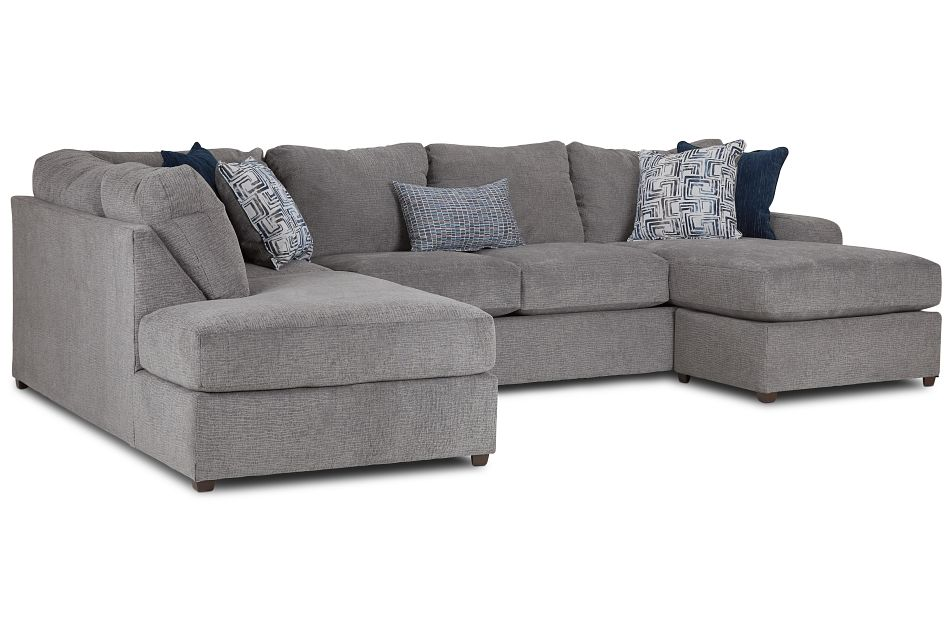 Banks Gray Fabric Left Bumper Sectional,  (1)