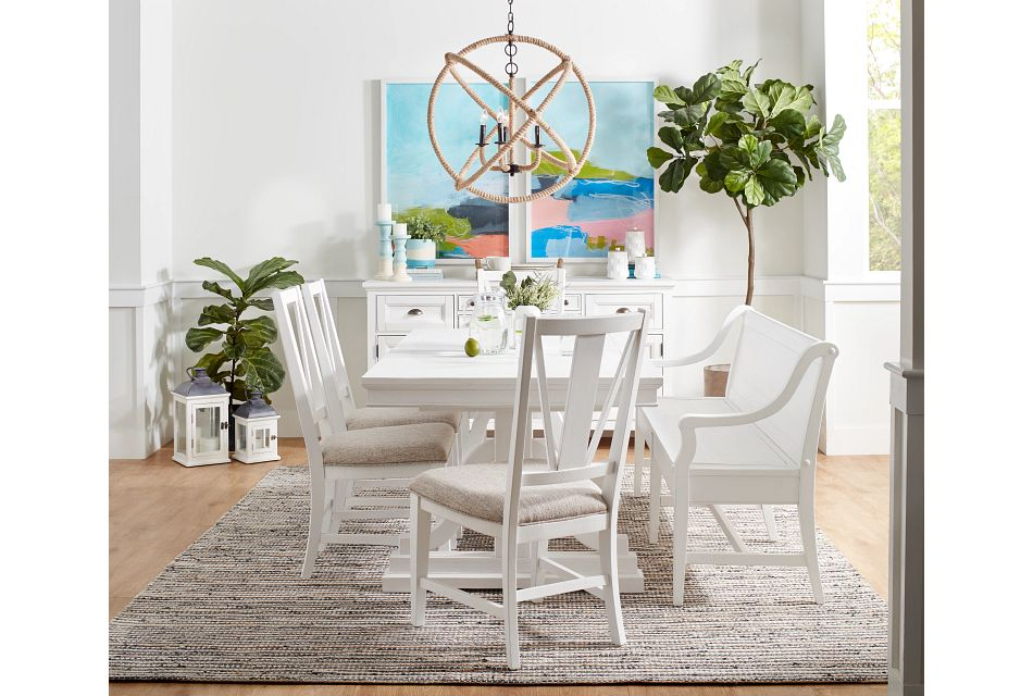 Heron Cove White Trestle Rectangular Table & 4 Upholstered Chairs
