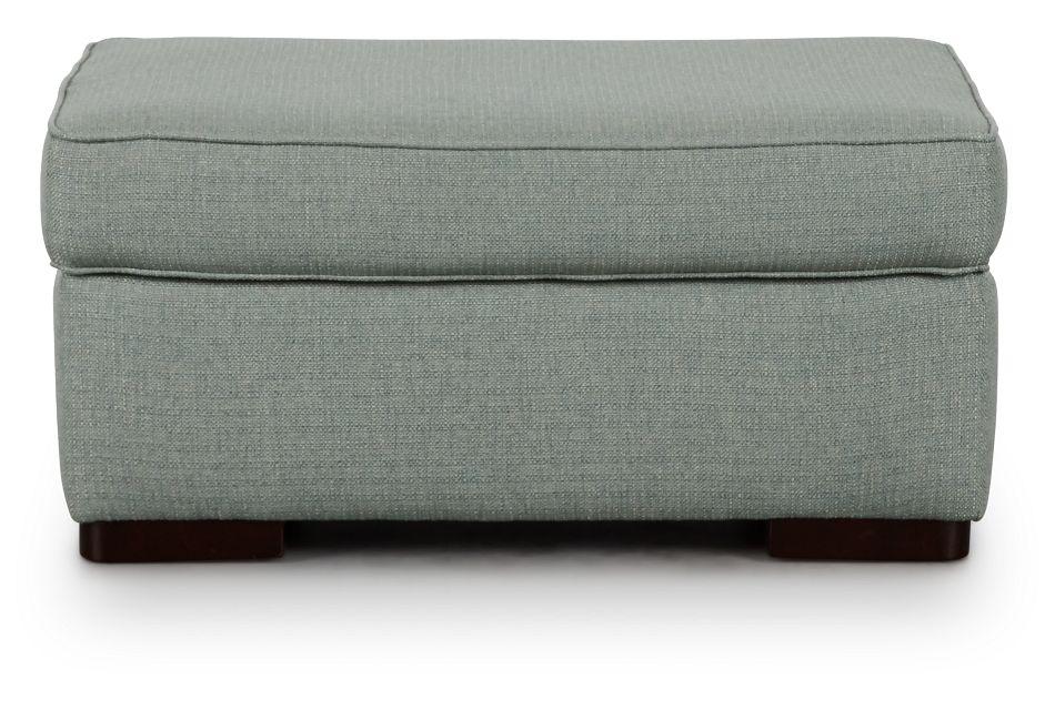 Austin Green Fabric Ottoman,  (3)