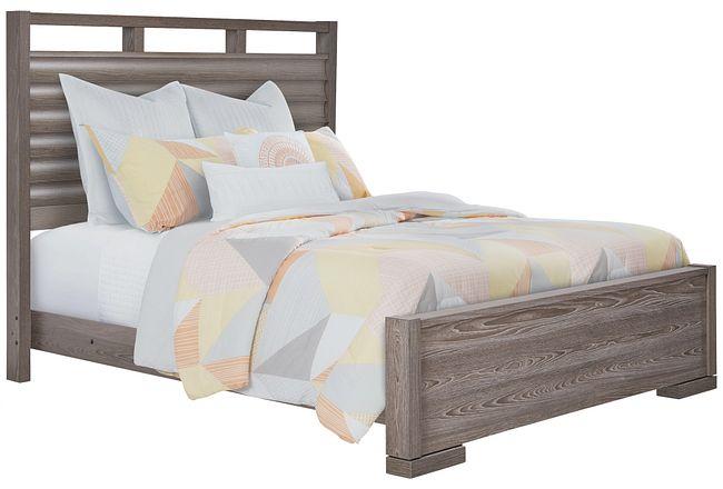 Sutton Light Tone Wood Slat Panel Bed