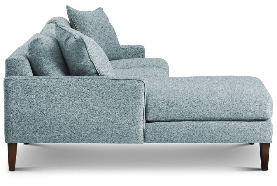 Morgan Teal Fabric Small Left Chaise Sectional W/ Wood Legs