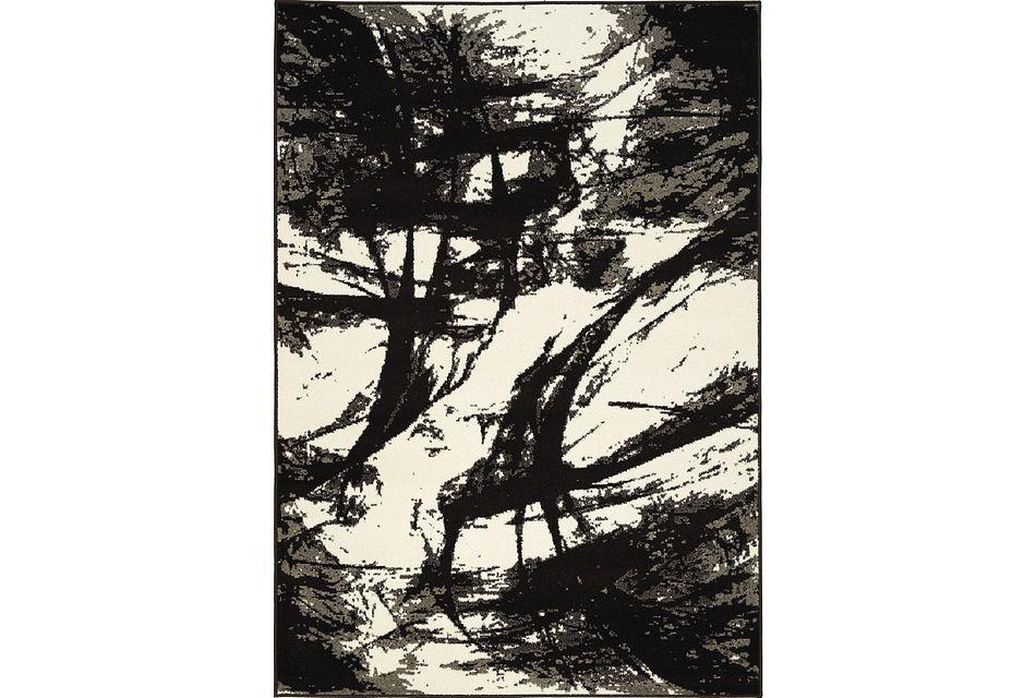 Abstract Black  5x8 Area Rug, 5x8 AREA RUG