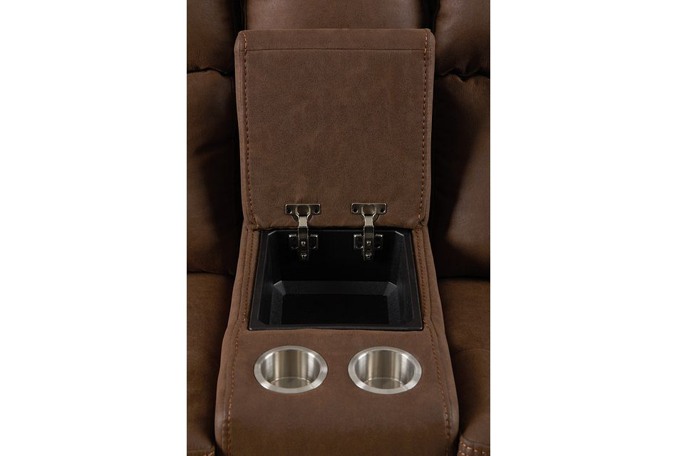 Scout Brown Micro Power Reclining Console Loveseat