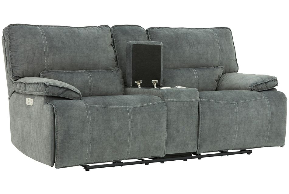 Jesse Dark Gray Micro Power Reclining Console Loveseat