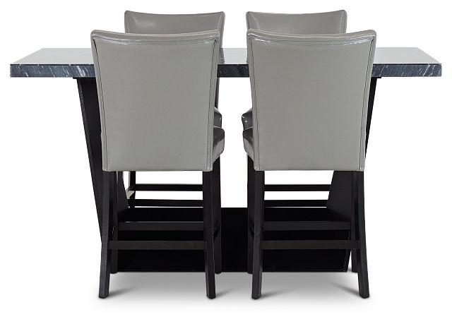 Auburn Dark Gray High Table & 4 Gray Upholstered Barstools (2)