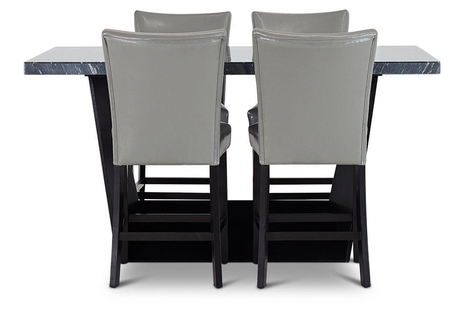 Auburn Dark Gray High Table & 4 Gray Upholstered Barstools, %%bed_Size%% (2)