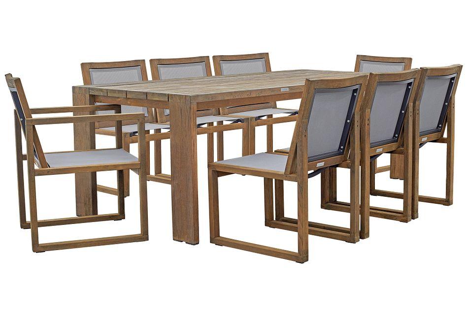 "Linear Teak 86"" Teak Table & 4 Teak Sling Side Chairs"