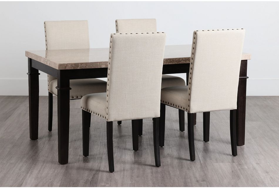 Portia Dark Tone Marble Table & 4 Upholstered Chairs,  (0)