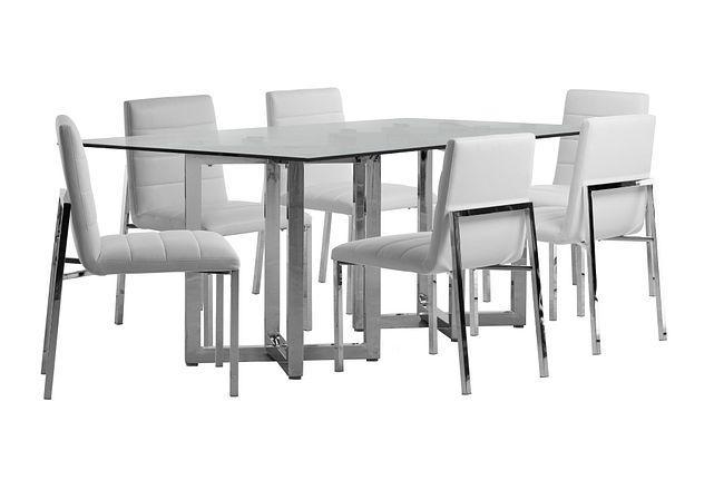 Amalfi White Glass Rectangular Table & 4 Upholstered Chairs