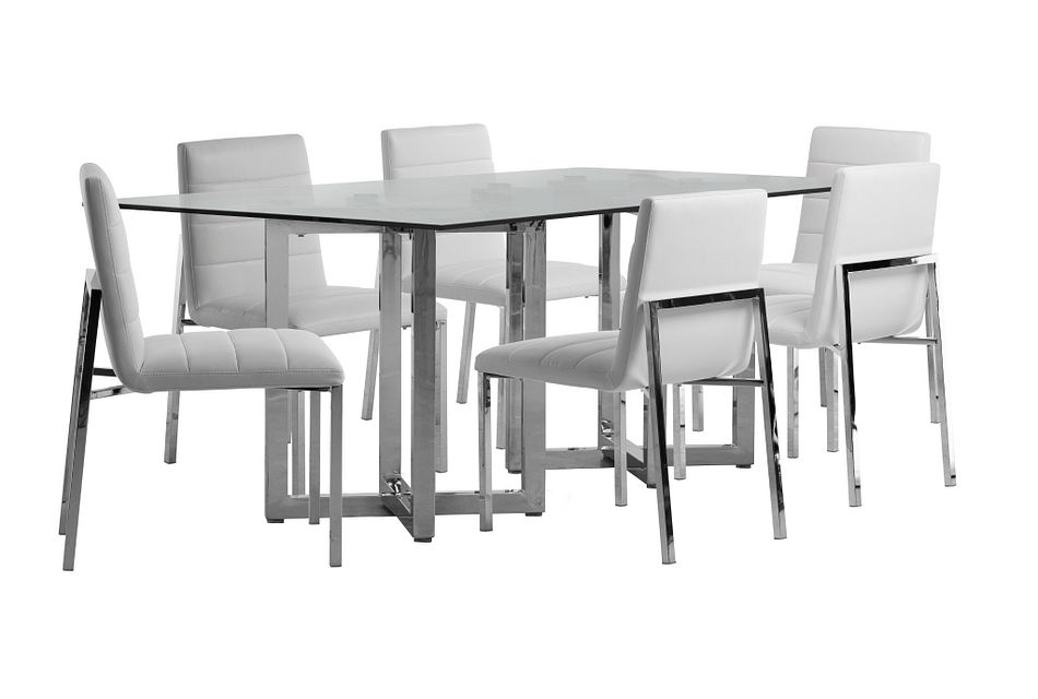 Amalfi White Glass Rectangular Table & 4 Upholstered Chairs