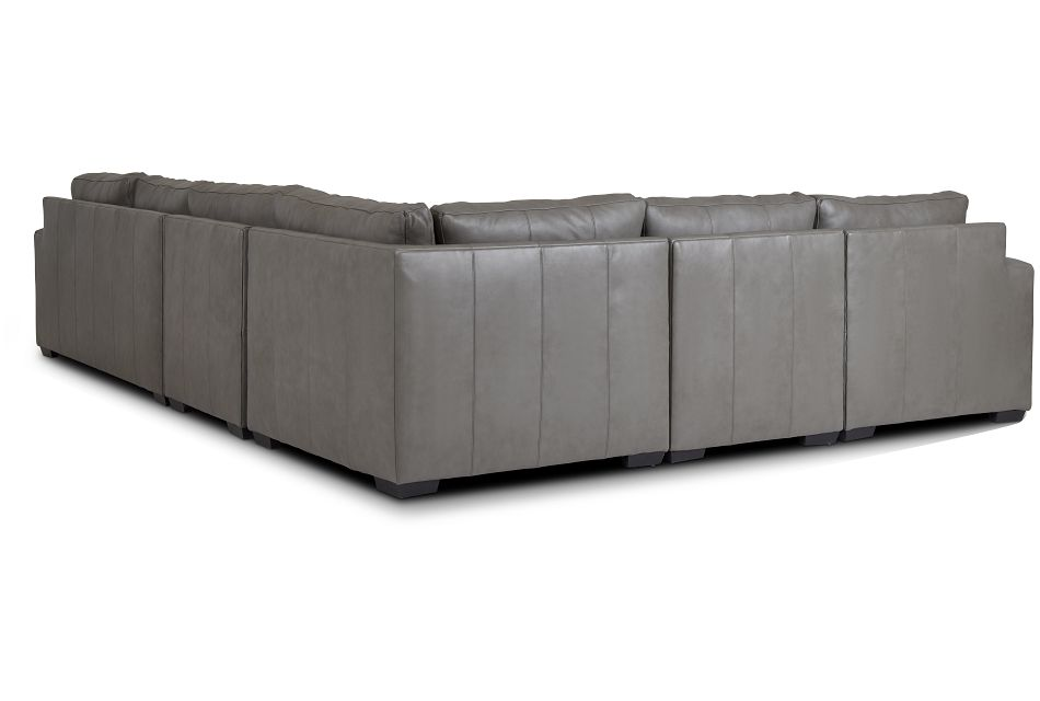 Dawkins Gray Leather Large Left Chaise Sectional,  (3)