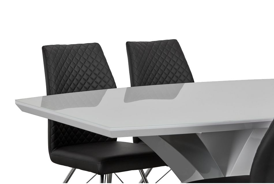Lima Black Table & 4 Upholstered Chairs