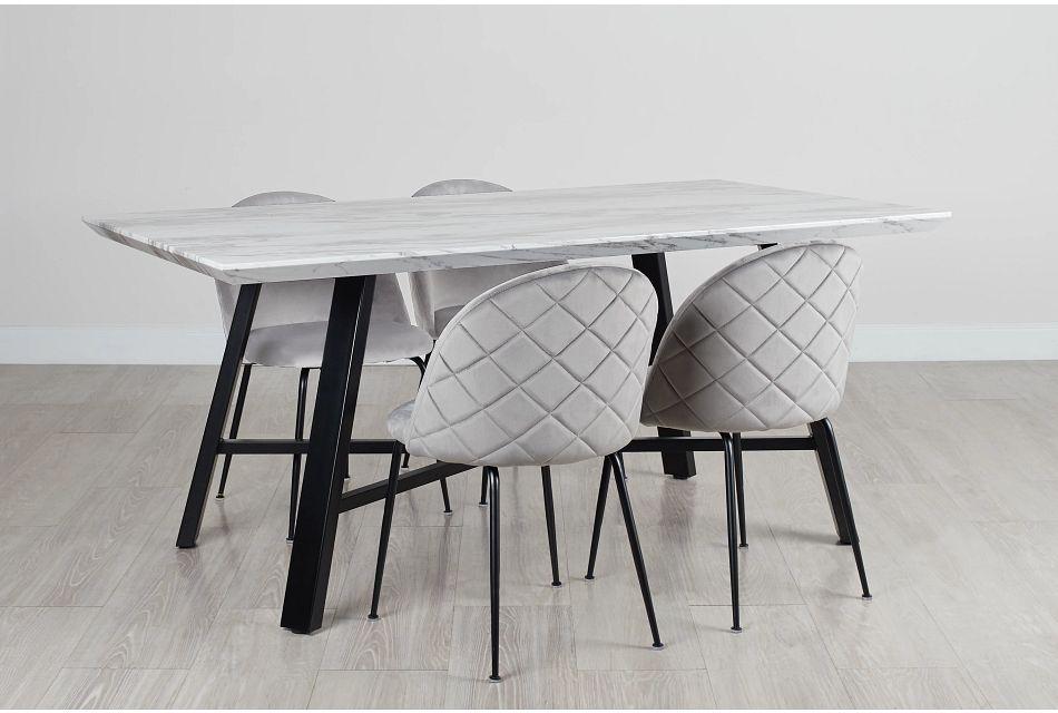 Capri Black Gray Rectangular Table & 4 Upholstered Chairs