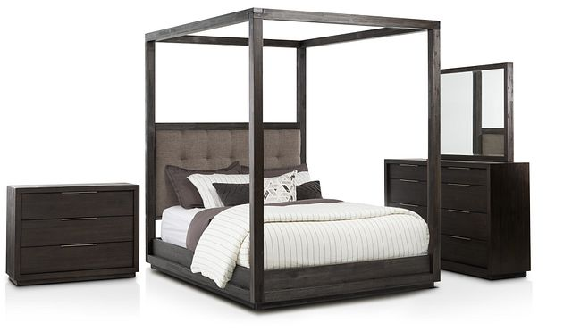 Madden Gray Fabric Canopy Bedroom (1)