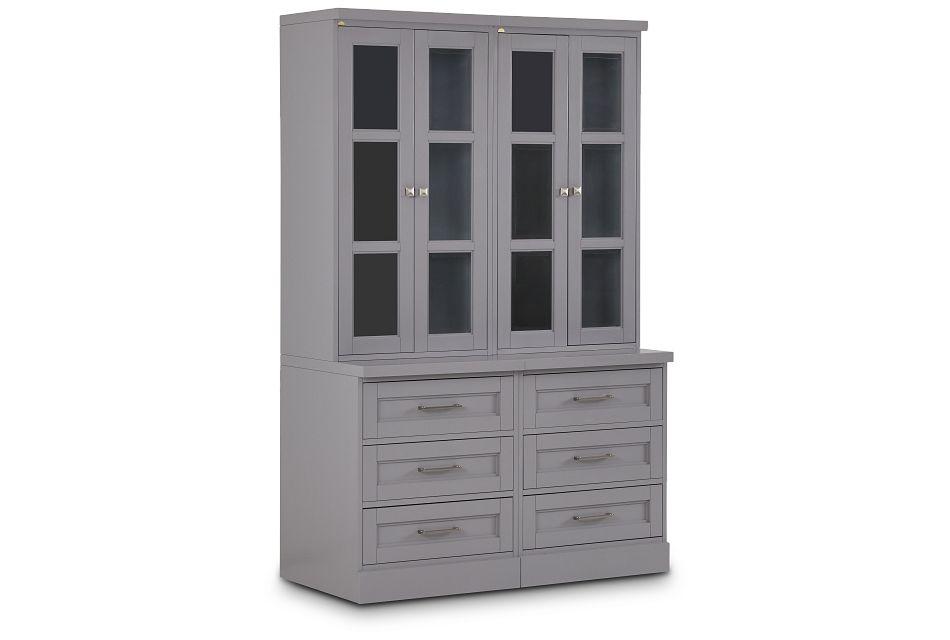 Newport Gray Drawer Bookcase,  (2)