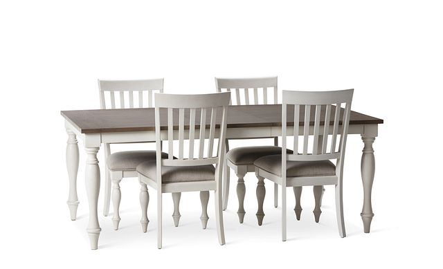 Grand Bay Two-tone Wood Table & 4 Upholstered Chairs (1)
