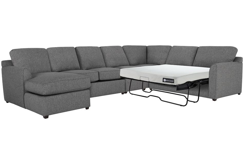 Asheville Gray Cool Mfoam Left Chaise Memory Foam Sleeper Sectional