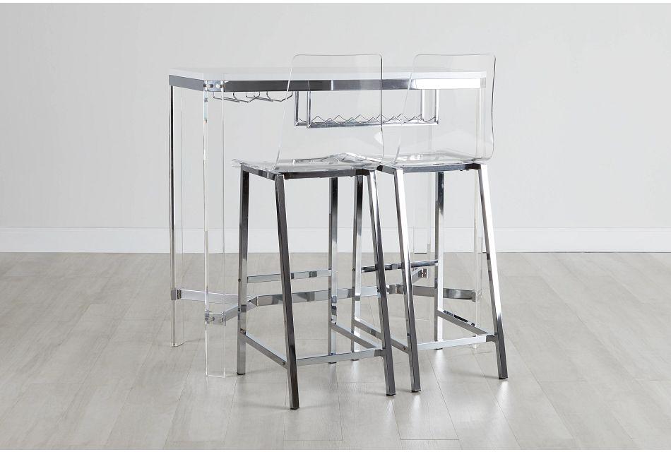 Denmark White High Table With Wine Rack & 2 Barstools