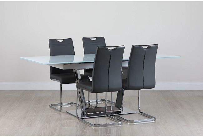 Treviso Gray Glass Table & 4 Upholstered Chairs