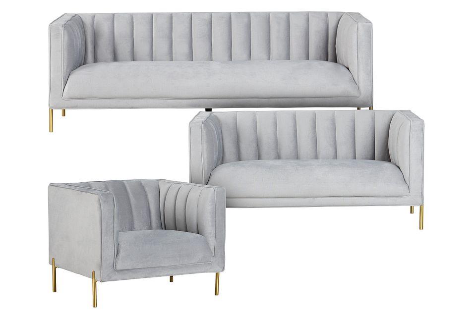 Bella Gray Velvet Living Room