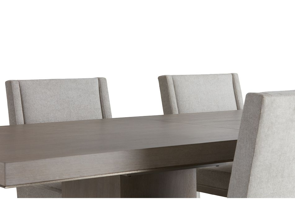 Linea Light Tone Rect Table & 4 Upholstered Chairs