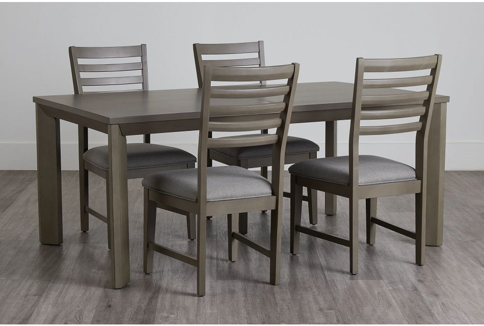Zurich Gray Rect Table & 4 Slat Chairs,  (0)