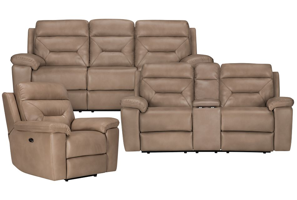 Phoenix Dark Beige Micro Power Reclining Living Room