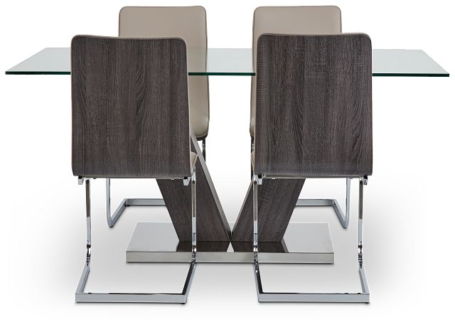 Kendall Dark Tone Rect Table & 4 Upholstered Chairs (3)