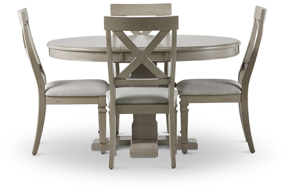 Marina Gray Round Table & 4 Wood Chairs