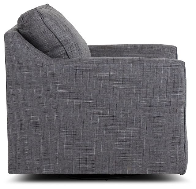 Charlie Gray Fabric Swivel Accent Chair (2)
