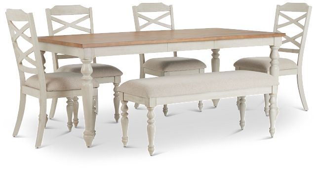 Lexington Two-tone Rect Table, 4 Chairs & Bench