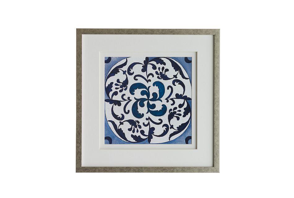 Mora Dark Blue Framed Wall Art