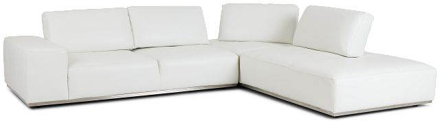 Landon White Leather Right Bumper Sectional (1)