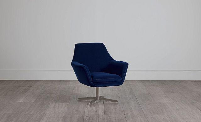 Xander Dark Blue Velvet Swivel Accent Chair (0)