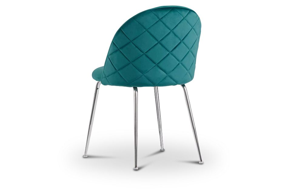 Capri Dark Teal Upholstered Side Chair W/ Chrome Legs