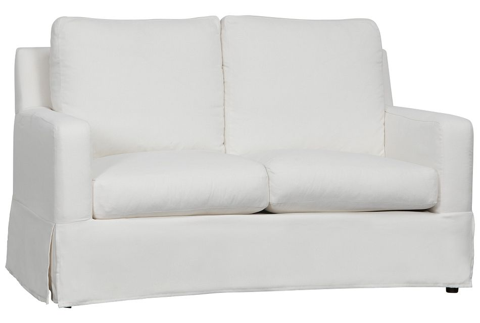 Bree White Fabric Loveseat