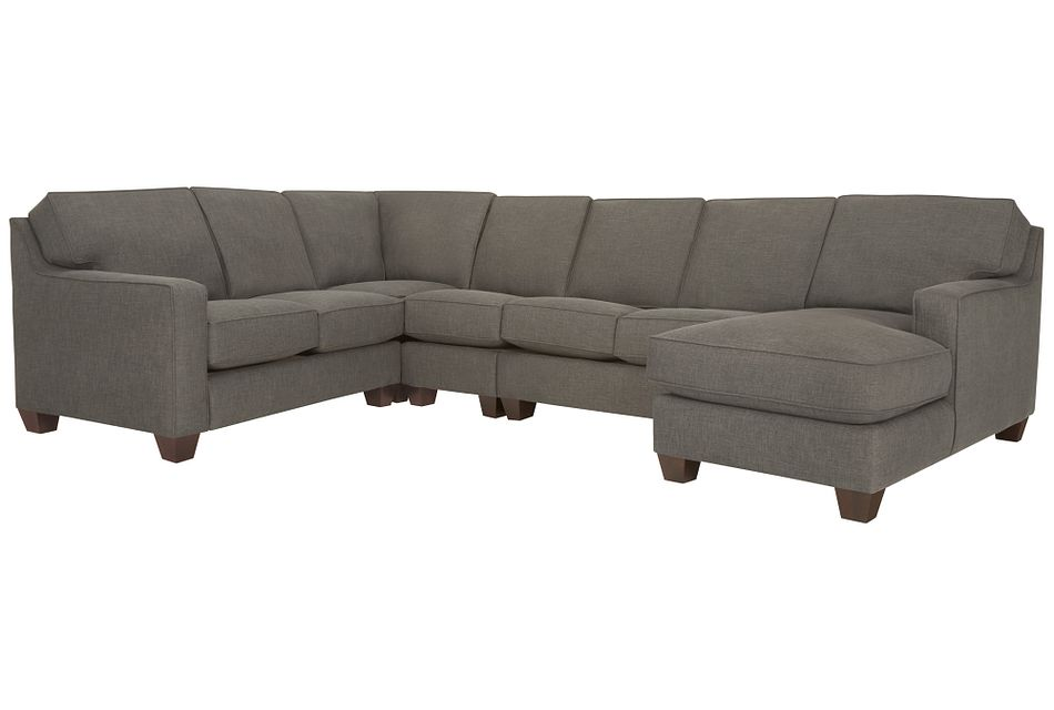 York Dark Gray Fabric Large Right Chaise Sectional