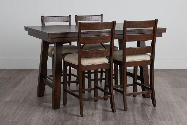 Jax Dark Tone High Table & 4 Wood Barstools (0)