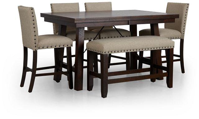 Jax Beige High Table, 4 Barstools & High Bench (1)
