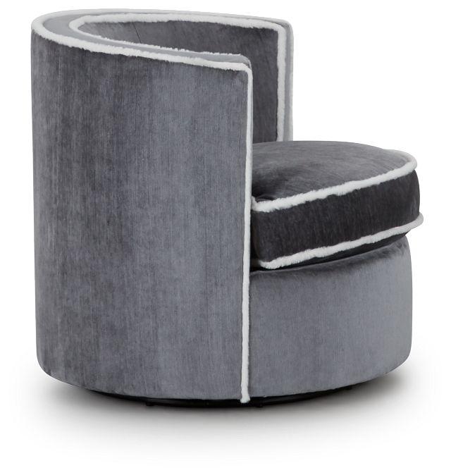 Fleur Dark Gray Fabric Swivel Chair (2)