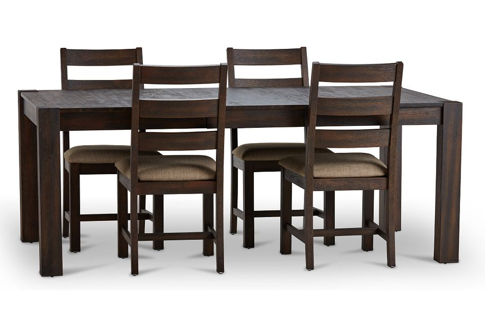 Holden Dark Tone Rect Table & 4 Upholstered Chairs