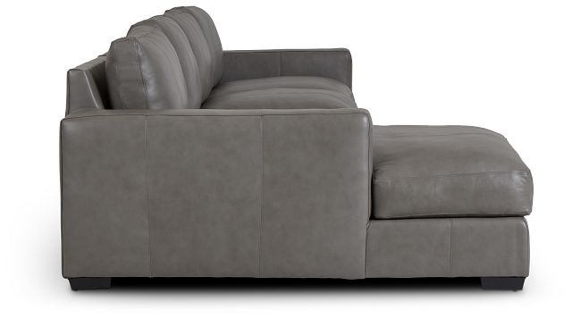 Dawkins Gray Leather Small Left Chaise Sectional (1)