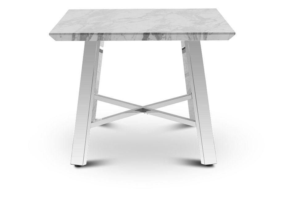 """Capri White 70"""" Rectangular Table W/stainless Steel Legs"""